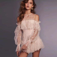 Women White Lace Playsuit Long Lantern Sleeve Loose Floral Embroidery Casual Overalls O Neck Summer Luxury