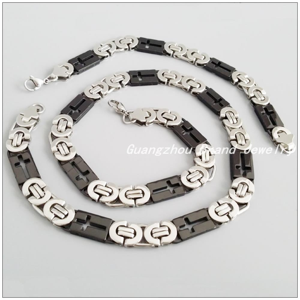 b61548113776 60 cm 22 cm 10mm promoción venta Bizantina de acero inoxidable collar y  pulsera de plata del muchacho de los hombres negro tono moda joyería Sets