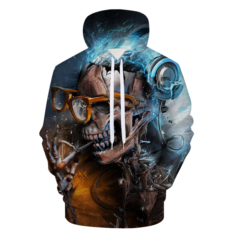 2018 New Greative Skull 3D Print Hoodies Men Brand Fashion Unisex Hooded Sweatshirts Autumn Winter Moleton Hoodie Men Streetwear