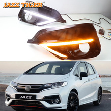 цены на Car Styling LED DRL For Honda Jazz Sport 2018 2019 Daytime Running Lights Turn Signal Fog Lamp Cover 12V ABS  в интернет-магазинах