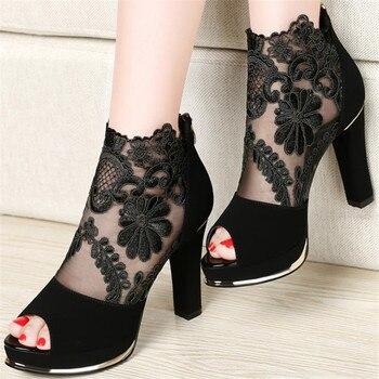 Black lace heel