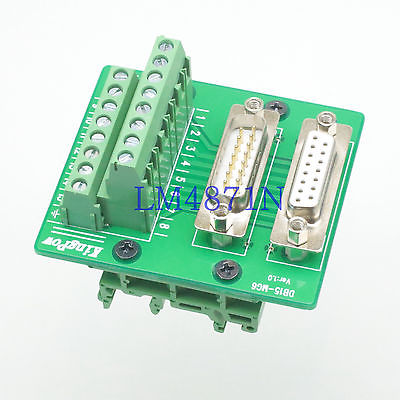 Hot Factory Direct Wholesale DB15HD DB15 D-SUB male female Terminal Breakout adapter C45 35mm DIN Rail Mount cnim hot d sub db15 vga male 3row 15pin plug to terminal pcb board connectors