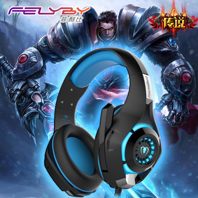New  for mobile phone PS4 PSP PC Gaming Headphones 3.5mm+usb Wired Headset with Microphone LED Lamp Noise Canceling Headphone super bass gaming headphones with light big over ear led headphone usb with microphone phone wired game headset for computer pc