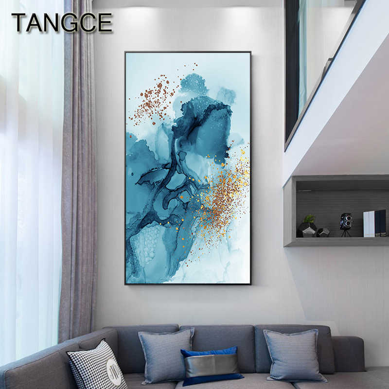 Dreamy Blue Splash Canvas Painting Modern Gold Foil Posters Prints Luxury Art Wall Picture for Living Room Aisle Abstract Decor
