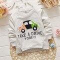 4 pcs Novos Meninos Roupas 2016 Primavera/Outono impressão carro Longo-Sleeved T Camisa de Algodão Infantil Meninos Camisetas frete grátis
