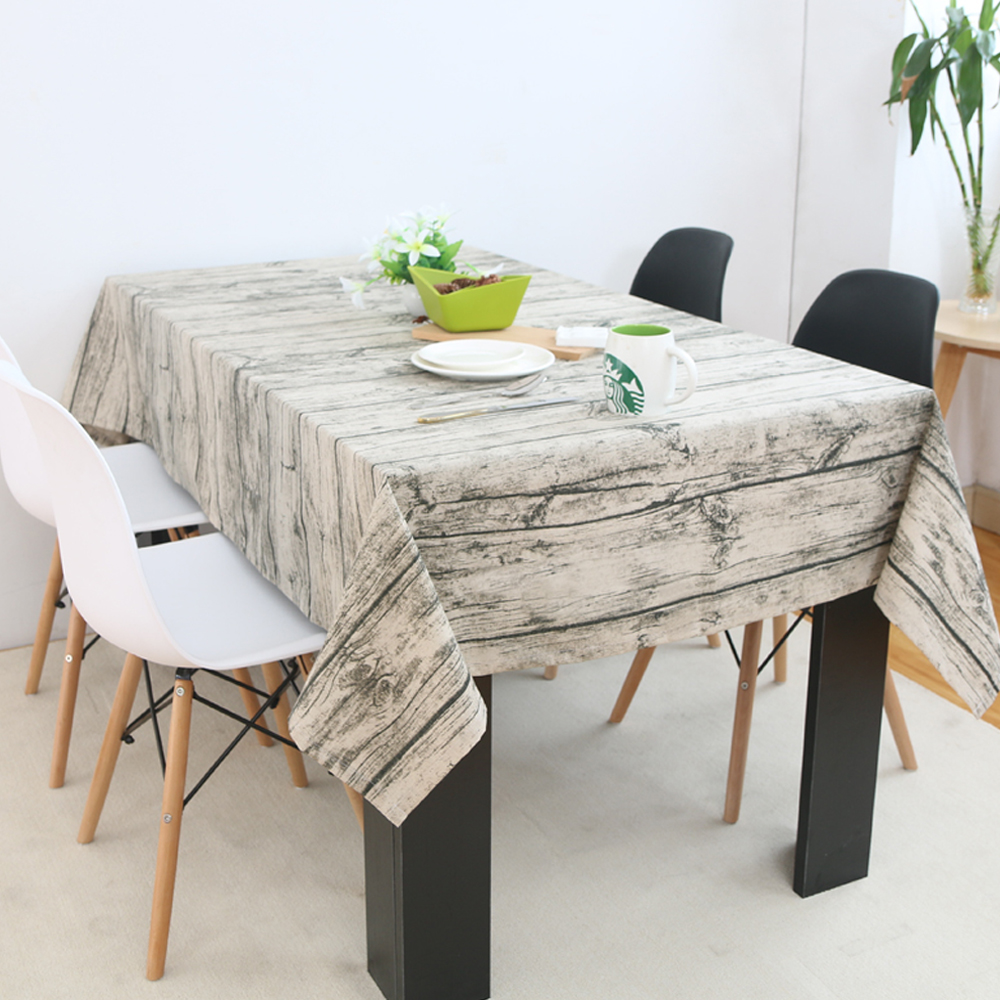 Customizable Size Rustic Wood Grain Tablecloth Table