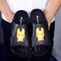 2017 Лето Железный Человек Сандалии Мужские Из Натуральной Кожи Повседневная Дышащий Мода Пляжные Сандалии Тапочки человек Homme Тапочки Плюс size46