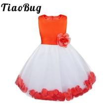 Tiaobug menina flor vestido na altura do joelho verão crianças bordadas vestidos de festa princesa menina roupas para casamento festa