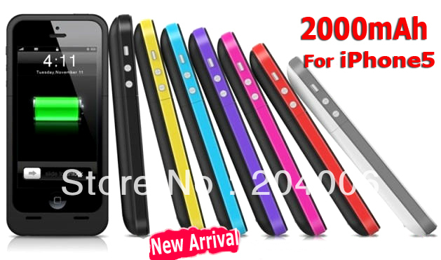 New arrival 2000mAh power pack for iphone5 External Backup Battery charger Case for iphone 5 5G Free shipping