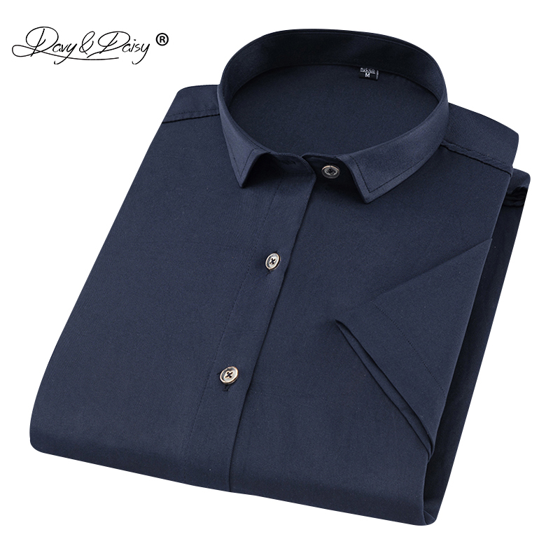 DAVYDAISY New Arrival Summer 2019 Men Shirt Male Short Sleeve Shirts Business Slim Shirt 100% Polyester Fiber Male Clothes DS243