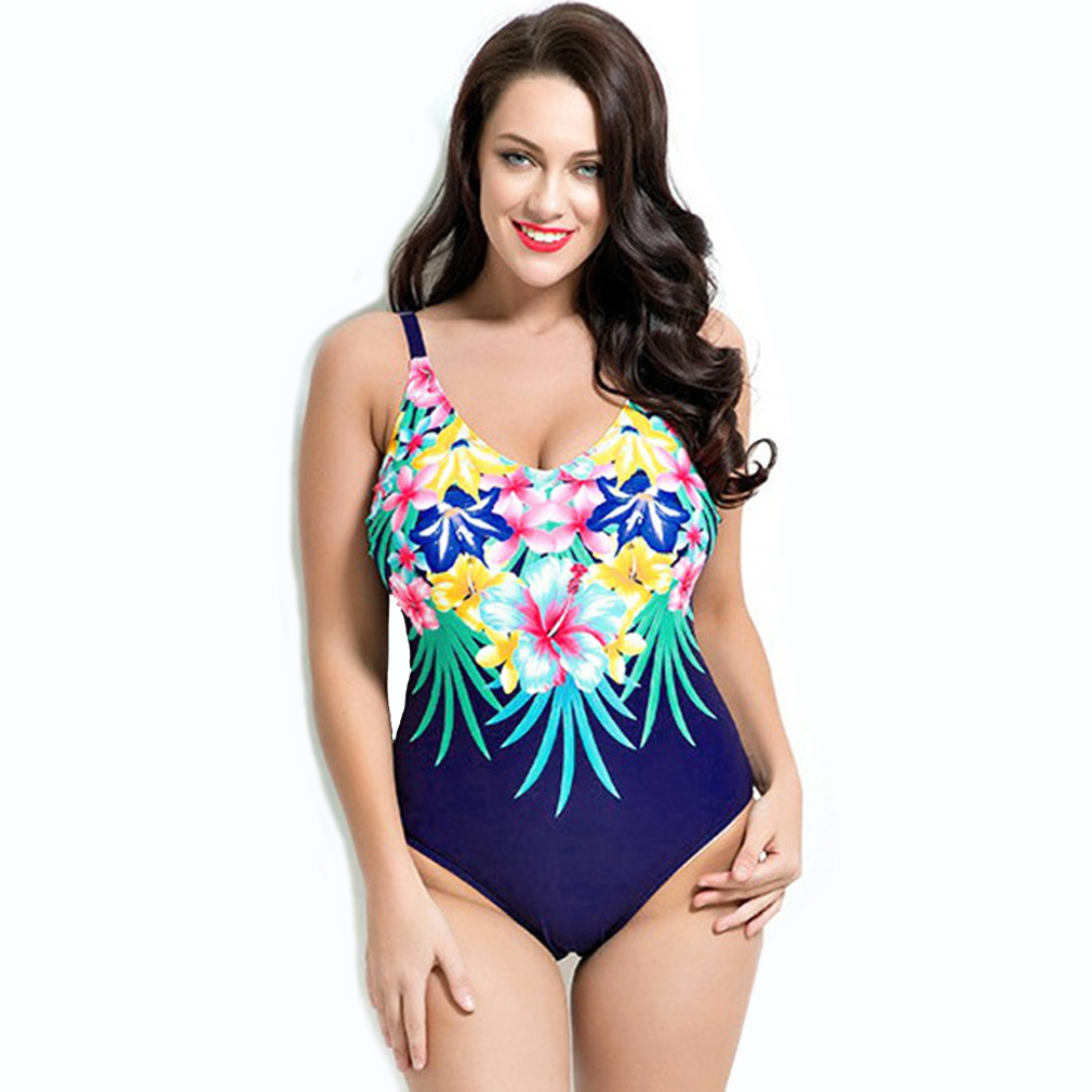 Padded One Piece Swimsuit Feminino Plus Size Sexy Monokini Swimwear Floral Printed Bathing Suits Maillot De Bain Une Piece plus size womens swimsuit one piece backless swimwear floral print padded bathing suits large cup bust swimsuits for lady