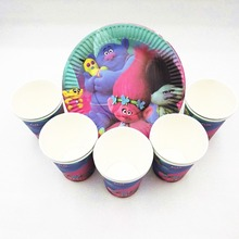 20p/set Trolls Birthday Party Supplies Plates Disposable Tableware Cake Cups dish Festival Favors Decoration