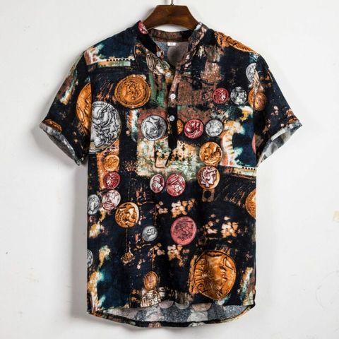 Men Linen Short Sleeve Shirt Summer Floral Loose Baggy Casual Holiday Shirts Tee Tops Karachi