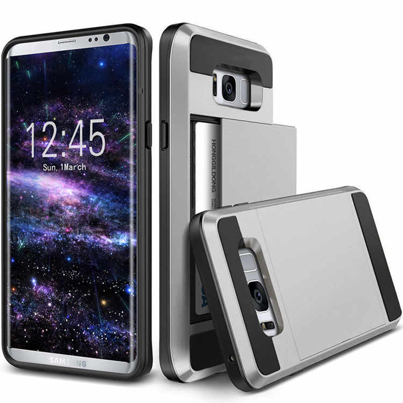 Luxury Cover For Samsung Galaxy S8 S9 Plus A3 A5 A7 J3 J4 J5 J6 J7 2016 2017 2018 Pro Case Hybrid Tough Card Storage Armor Cases