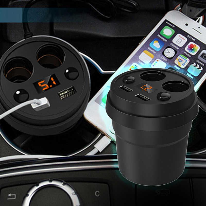 Onever 5V 3.1A Dual USB Car Charger 12-24V 2 Port Cigarette Lighter Adapter Socket Splitter with Voltage LED Display Car-styling