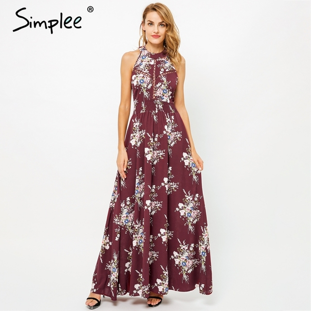 7a9834e5a2b8 Simplee Halter backless summer long dress women Hollow out sleeveless maxi  dress Casual high waist floral print dress vestidos