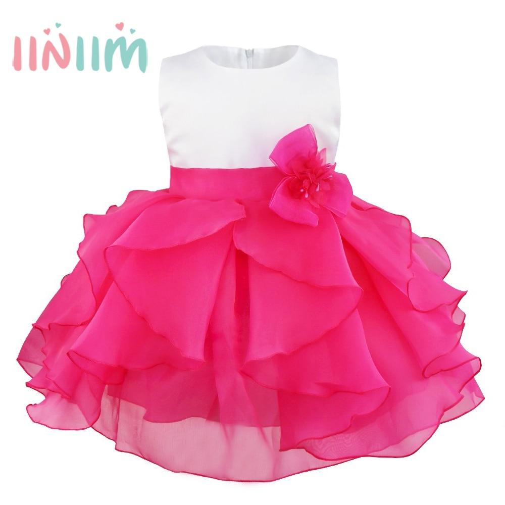 Baby Elegant Infant Girls Flower Dresses Long Wedding