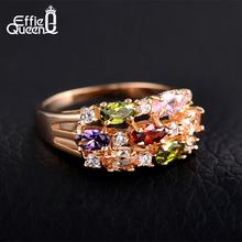 Effie Queen New Trendy Beautiful Zircon Ring Luxury Rose Gold Plated Women Wedding Engagement Rings Fashion Jewelry DDR01