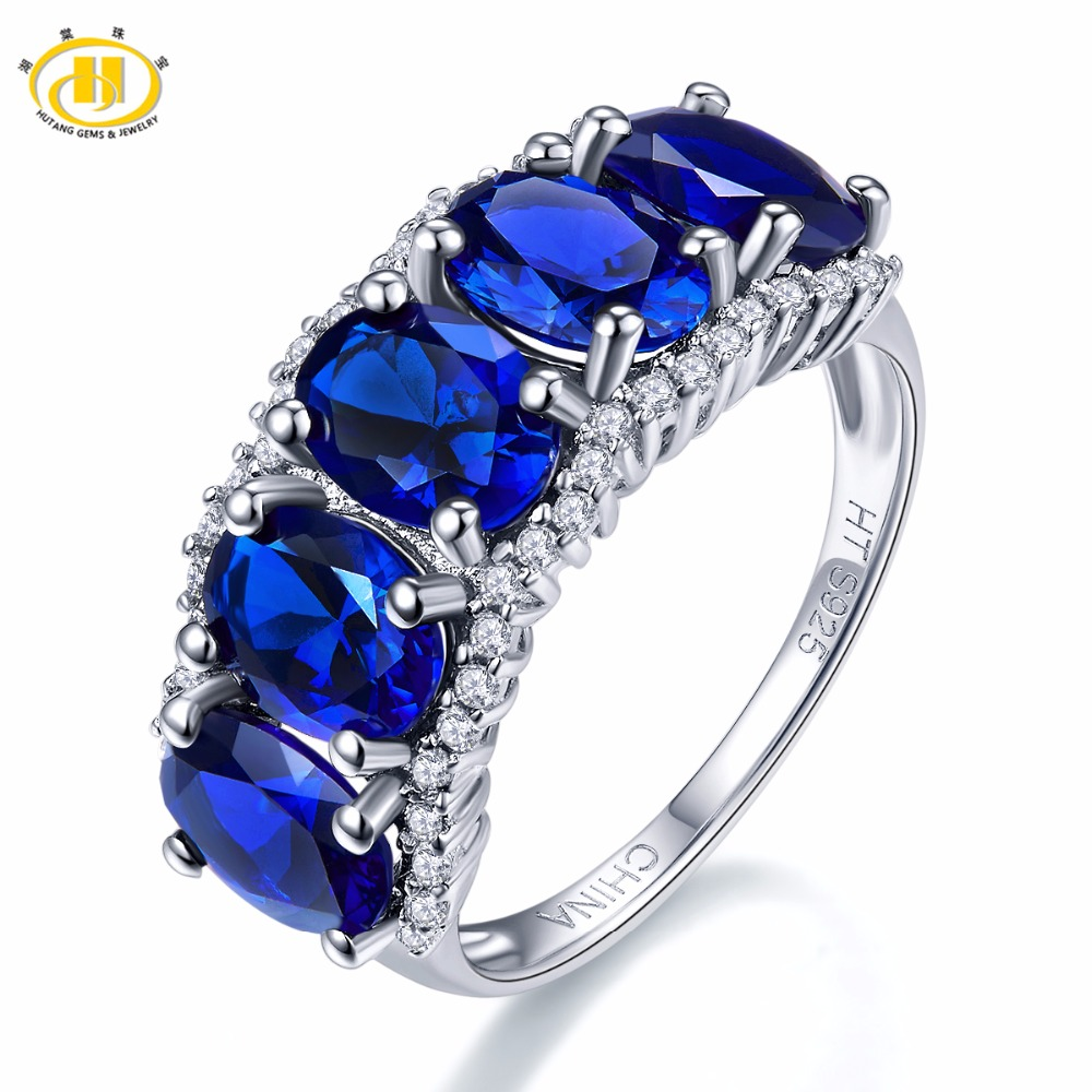 Hutang Nature 5.0ct Created Blue Sapphire Ring Solid 925 Sterling Silver Gemstone Fine Jewelry Five-stone Classic Style Women все цены