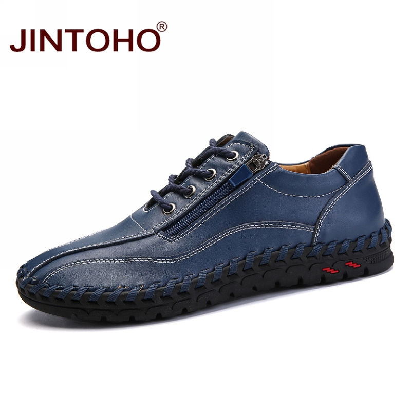 JINTOHO big size 38 50 male shoes casual fashion men s genuine leather leather moccasin brand
