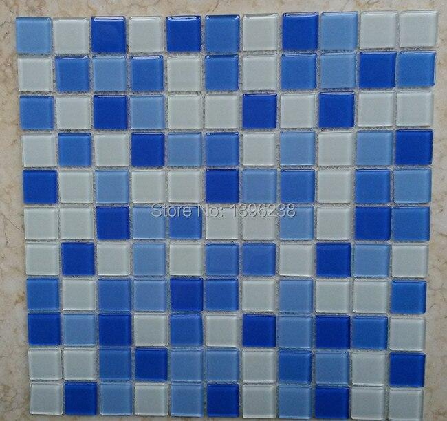 FREE SHIPPING! 3D Blue glass mosaic floor tile for bathroom Shower kitchen backsplash Outdoor swimming pool wall sticker,LSNSJ20