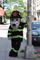 OISK Hot Dog the NYC Fire Safety Mascot Costume Halloween Christmas Birthday Celebration Carnival Dress Full Body Props Outfit
