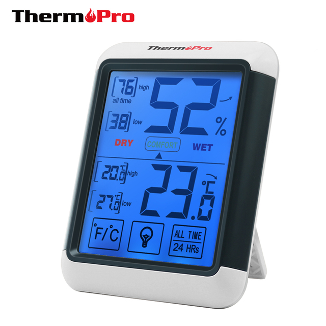 Thermopro TP55 Digital Hygrometer Thermometer Indoor Thermometer with Touchscreen and Backlight Humidity Temperature ensor