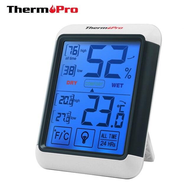 Thermopro タッチスクリーンとバックライトと TP55 デジタル湿度計温度計室内温度計湿度温度センサー