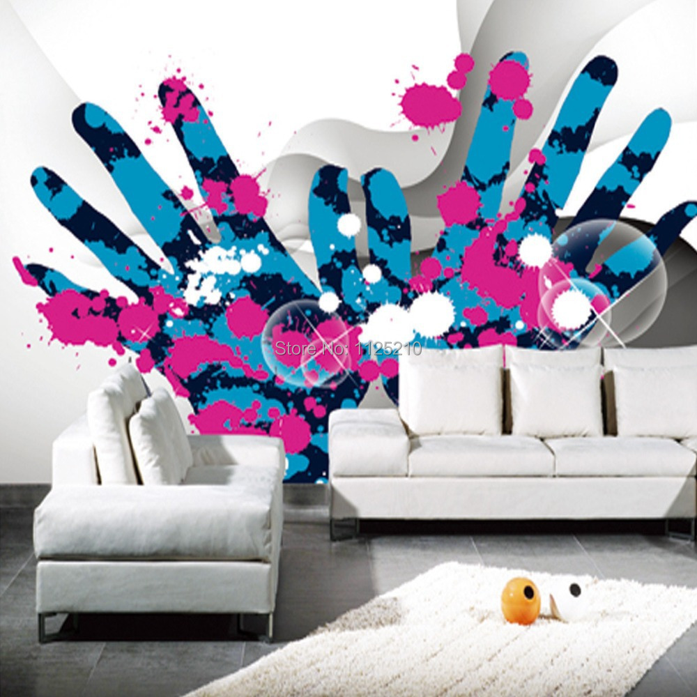 Room wall graffiti - Free Shipping Graffiti Decoration Design Modern Minimalist Warm Living Room Bedroom Tv Background Wall Murals Custom Sizes In Wallpapers From Home