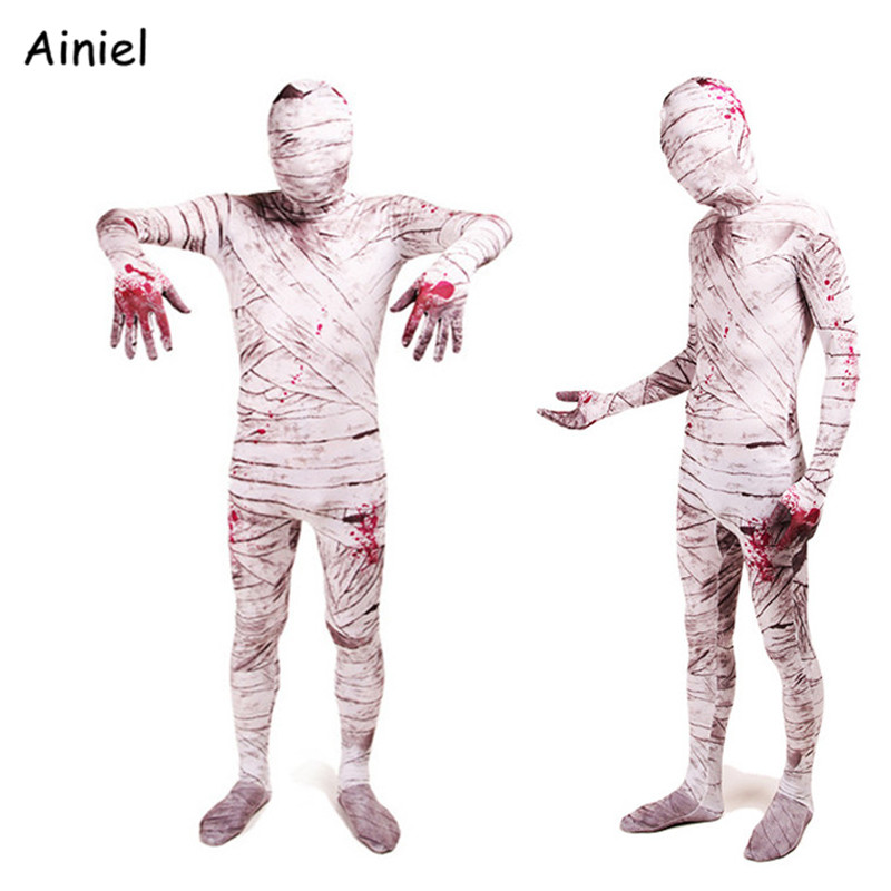 Movie Scary Mummy Cosplay Costume Adult Kids Men Mummy Costumes Mask Zentai Badysuit Spandex Suit Halloween