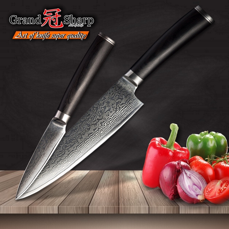 2 Pcs Chef Knife Set Professional Chef Paring Damascus Kitchen Knives vg10 Japanese Damascus Steel Chef