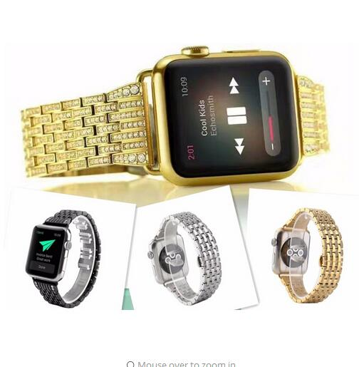 For Man uxury Crystal Rhinestone Diamond Watch Bands for Apple Watch Bands 38/42mm Series 1 Series 2 Crystal Shining Gold Strap