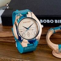 Bobo Vogel Mannen Horloge Speciale Ontwerp Hars En Houten Conbined Case Houten Quartz Horloges Relogio Masculino Accepteren Logo