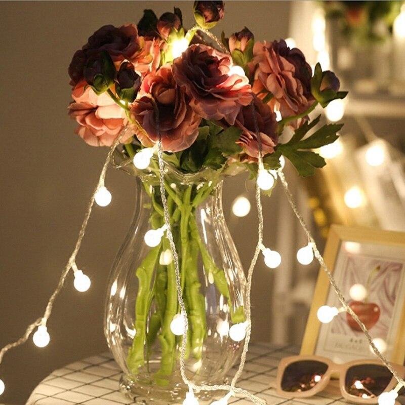 Novelty Outdoor lighting 50 /80 Beads 10m ball String LED Starry Light Rope patio Decor Fairy Icicle Lighting String EU Plug