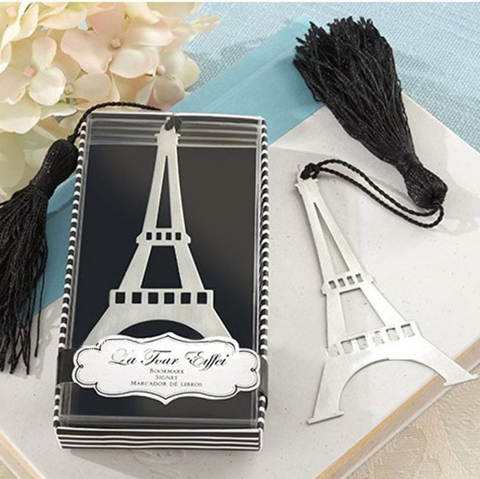 TIAMECH 1Pcs New In Box Romantic Eiffel Tower Bookmarks With Tassel Metal Bookmark Stationery Wedding Gifts K6896