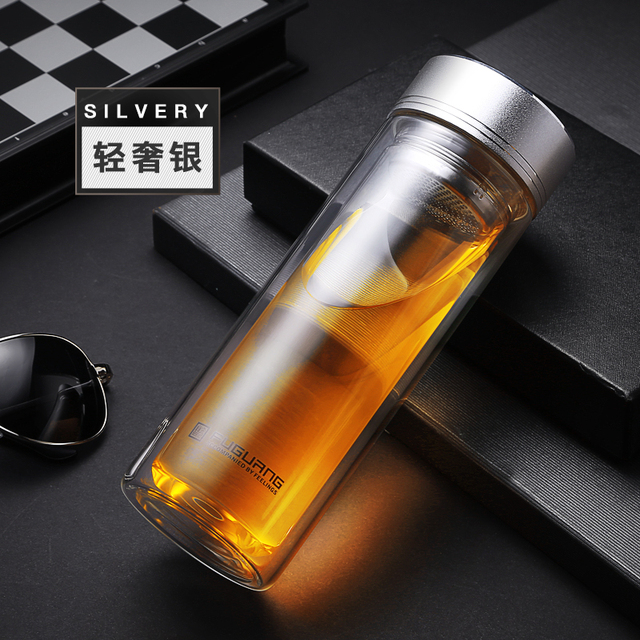 Male Gift Water Bottle Glass Water Bottle Tea Infuser Double wall Glass bottles with stainless steel Filter Sport Water Tumbler