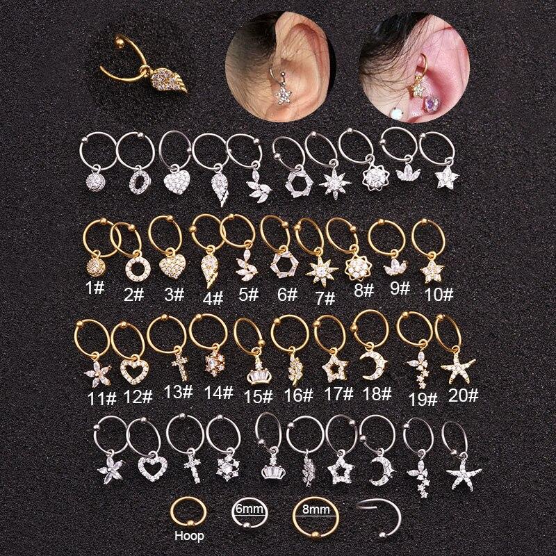 Sellsets Ear Piercing Hoop Jewelry Rook-Earring Helix Stainless-Steel Cartilage Cz-Pendant