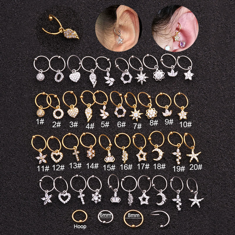 Sellsets Ear Piercing Jewelry 1PC 20GX6/8mm Stainless Steel Hoop With Cz Pendant Cartilage Helix Rook Earring(China)