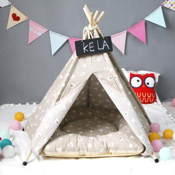 Szary łóżko zwierząt dom produkty pies kot dom dla zwierząt namiot w kształcie przytulny dom kot mały pies kot składany łóżko dom dla kotów Puppy tanie i dobre opinie PASAYIONE Pranie ręczne dog tent Drukuj M20190624736 Łóżka i sofy wood+cloth 0 61kg 0 83kg