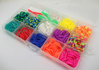Free Shipping 12 Color Box Set Rubber Loom Bands Kit Including 480pcs Bands 1 Instructions 2