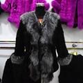 Noble Real Mink Fur Coat with Real Sliver Fox Fur Collar Jacket Russian Winter Warm Coats & Jackets Women Genuine Mink Fur Coat