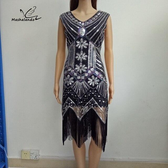71efa641b63 1920s Great Gatsby Dress Sequin Beading V Neck Tassel Flapper Dress Black  Party Long Summer Dress Vestido Longo De Festa H014