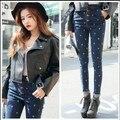 Nueva Moda Fluorescente Cruz Bordado Skinny Jeans Mujer Jeans Cintura Alta Pantalones Más Tamaño Adelgazan Los Pantalones Vaqueros Para Las Mujeres de Buena Calidad