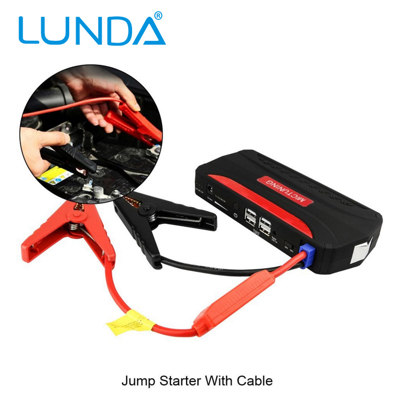 LUNDA 12V Multi function Car Jump Starter 4USB 2 0A Output Charger Portable Charger Mobile Phone