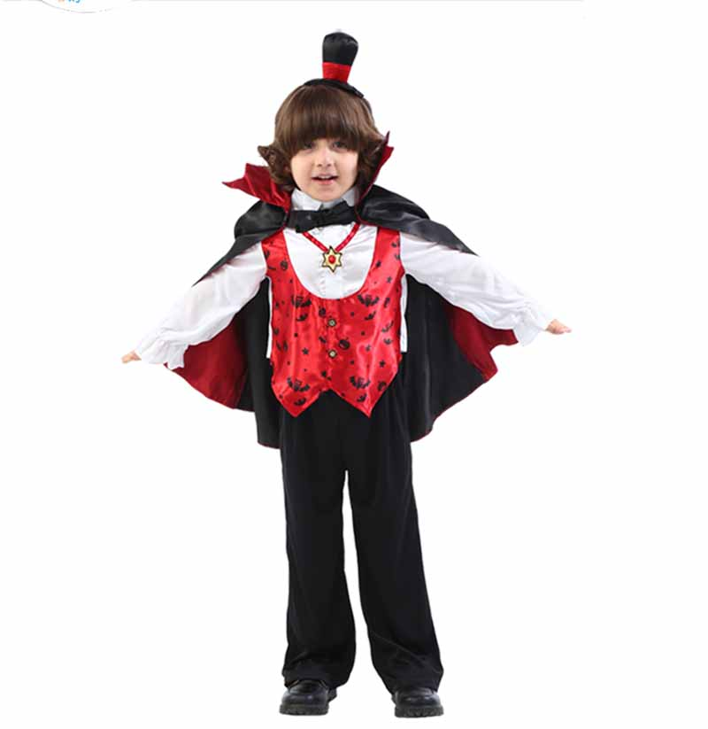 Fantasia Children`s Magician Vampire Cosplay Halloween Costume Kids Boys Child Vampire knight Costume Carnival Party Outfit