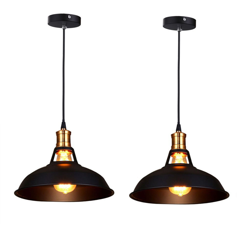 Retro Industrial Edison Simplicity Chandelier Vintage Ceiling Lamp with Metal Shiny Nordic style Shade (Set of 2 Black)