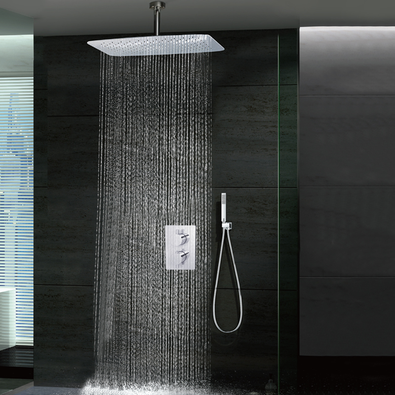 Thermostatic Ceiling Mounted 8 Brass Shower Head Chrome Finish Shower Faucet