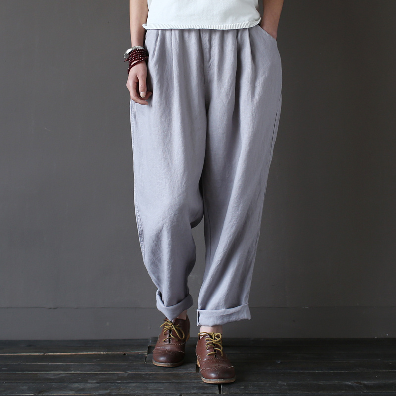 Elastic waist 100% Linen Loose Women Harem Pants Summer New Casual Brand Pants High quality Plus size Linen Harem Trousers A045 plus size striped harem pants