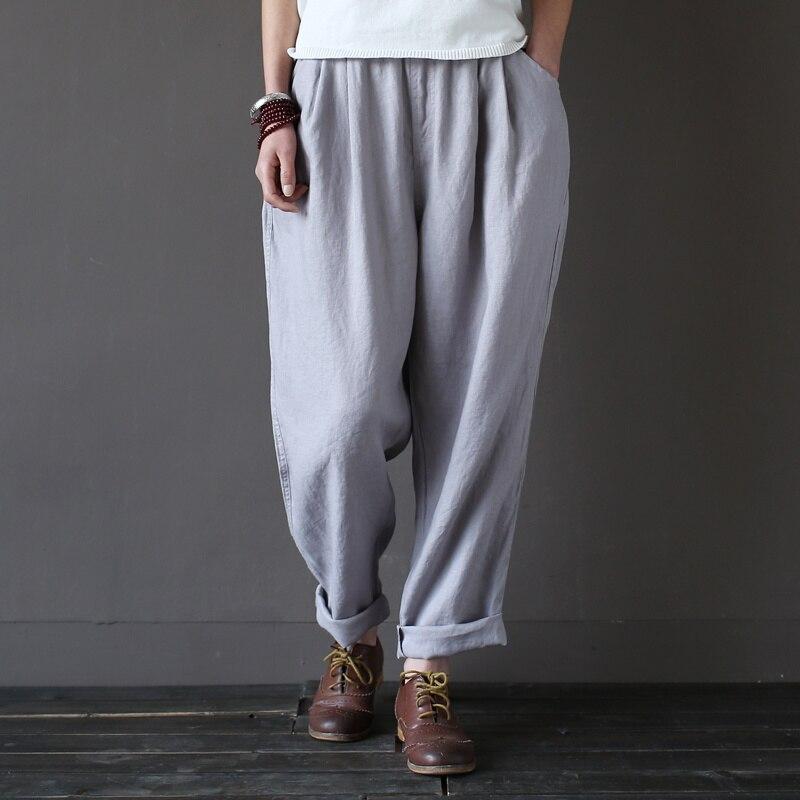 Elastic waist 100% Linen Loose Women Harem Pants Summer New Casual Brand Pants High quality Plus size Linen Harem Trousers A045