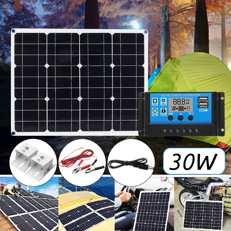 5in1 30W 12V/5V DC USB Solar Panel Kit 20A PWM Multifunction Solar Charger Controller 30cm DC Male Cable diy 5v 2a voltage regulator junction box solar panel charger special kit